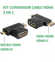 KIT CONVERSOR CABLE HDMI 2 EN 1. DE HDMI A MICRO HDMI Y MINI HDMI