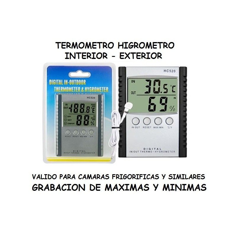 Termometro higrometro con sonda multi funci n - Termometro interior exterior ...