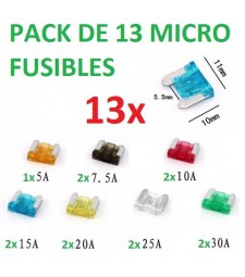 Pack de 13 Micro Fusibles de Coche Furgoneta Camión Tipo Cuchilla