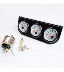 Kit 3 Relojes Coche Temperatura Agua Presión y Voltaje Racing Tunning
