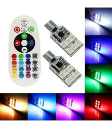 Set de 2 Bombilla T10 W5W T15 W16W Cuña RGB Cambia de Color Interior