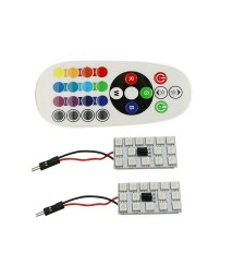 PACK 2 PANEL T10 FESTOON C3W C5W C7W LED RGB CAMBIA COLOR MANDO