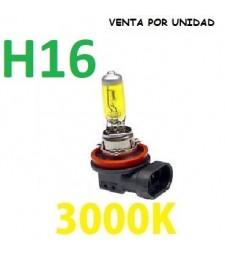 BOMBILLA HALOGENA H16 3000K Amarilla COCHE MOTO ANTINIEBLA LARGA CRUCE