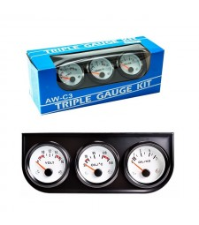 Kit 3 Relojes Coche Temperatura Presión y Voltaje Racing Tunning