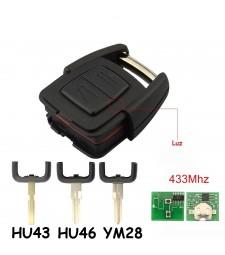 Llave Completa Opel 2 Botones 433Mhz HU100, HU43, HU46, YM28 Ref. 4