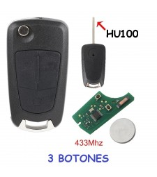 Llave Completa opel 3 Botones 433mhz HU100 PCF7946 Ref. 15