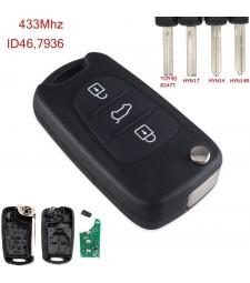 Llave Completa Kia y Hyundai 3 Botones CE0682 PCF7936 Ref. 21