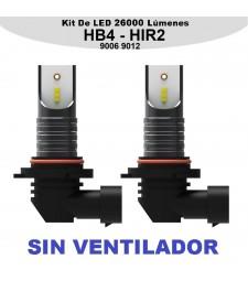 Kit HIR2 HB4 9006 9012 Led 26000 Lumen Luz Cruce Largas Sin Ventilador