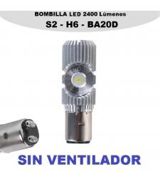 Bombilla Led BA20D H6 Luz Blanca Moto Quad 1400LM 20W Corta y Larga